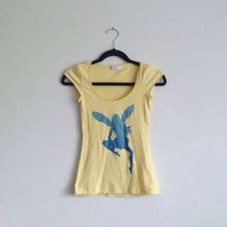 Kookai yellow and blue pixie fairy ombré graphic cute girly scoop neck t-shirt tee shirt