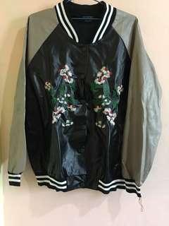 Semi leather bomber jacket