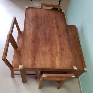 Wooden Dining Table with 4 chairs and bench