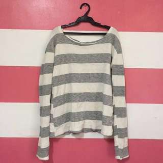 White and Gray Striped Pullover