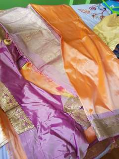 Peach colour with purple border saree with sewn blouse