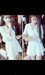 🚚 白色雪紡襯衫