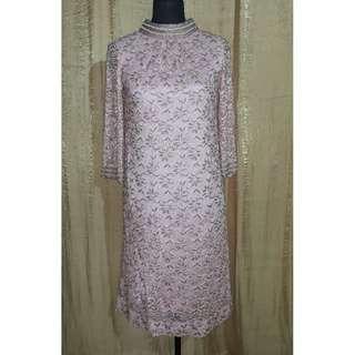 Vintage Beaded Pink Cocktail Dress with Chinese Collar
