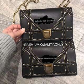 Comparison Dior Diorama boutique Quality studded bag