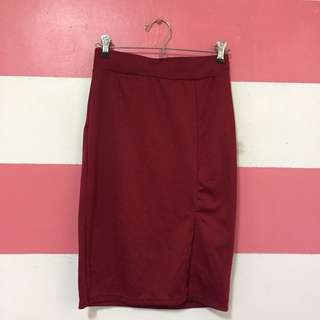 Maroon Pencil Skirt With Slit