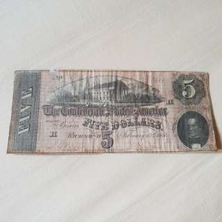 1864 Confederate States of America $5 Banknote
