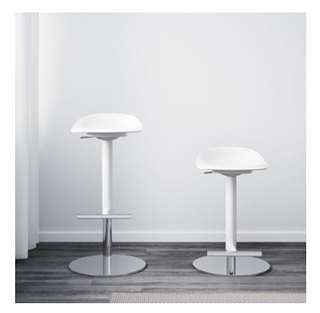 White bar stools with chrome
