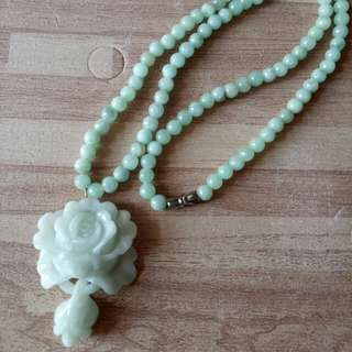 🚚 天然翡翠A貨花朵項鍊