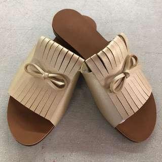 Gold Ribbon Sandals