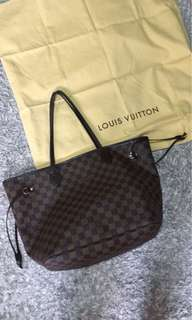 My Preloved Authentic Louis Vuitton Neverfull Damier Ebene MM LV Bag