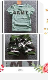 Army tee and short Pant For Age 2-8 yrs Old