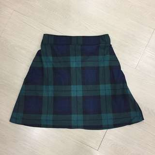 Checkered A Line Skirt