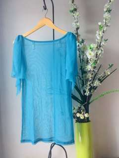 Teal Sheer Cover-Up Swim Wear