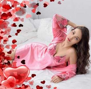 Premium robesets pajamas satin silk pink lace sexy sleepwear dress Nightgown pyjamas