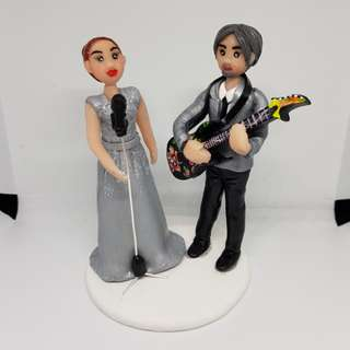 Custom made wedding couple figurines by polymer clay