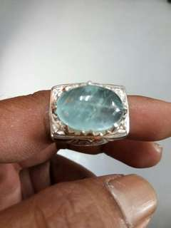 Aquamarine with silver ring (21 carat)