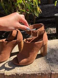 SKIN | Suede Ankle Strap Block Heels