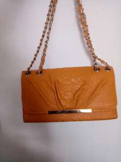 Mustard Yellow bag with Gold Chain