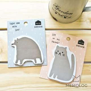Cute Bear and Cat Motivational Memo Pad Sticky Notes