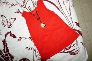 Red top tanpa lengan fit to size L