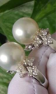 18K白金 南洋珍珠鑽石戒指