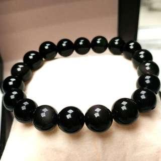 天然開光黑曜石水晶手鏈(避邪、鎮宅、防小人) Brand New Natural Obsidian Crystal Bracelet (Can be used to Avoid evil,Town house,Anti-villain)