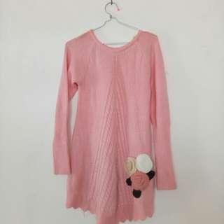 Knit sweater pink premium