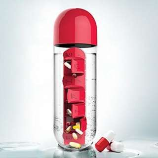 Water Bottle With Pill and Vitamins Organizer (600ml)