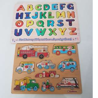 excellent condition learning alphabet A to Z matching alphabet Matching vehicles wooden puzzle Abc