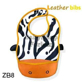 Zoo Leather Bib with Food Catcher Pocket - ZB8