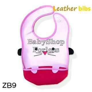 Zoo Leather Bib with Food Catcher Pocket - ZB9