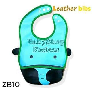 Zoo Leather Bib with Food Catcher Pocket - ZB10