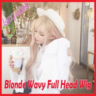Harajuku Big Wavy Long Curly Hair Wig Air bangs Golden Blonde