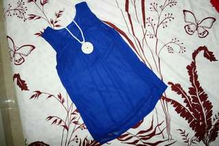 Blue top tanpa lengan fit to size L