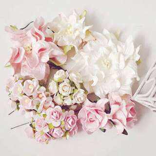 Mixed Pastel light pink paper Mulberry rose buds