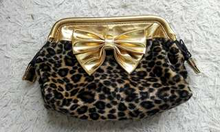 Animal print gold pouch