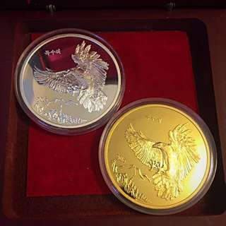 2015 DPRK North Korea 30'000 Won 1 Oz Gold & 1'500 Won 1 Oz Silver Eagle in Flight 2 Coins Set