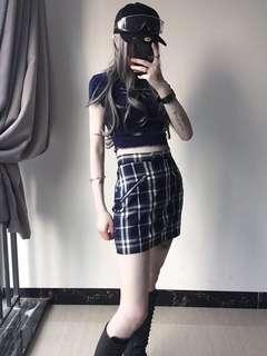 包臀高腰拉鍊設計 拼色格紋半身裙 ins火