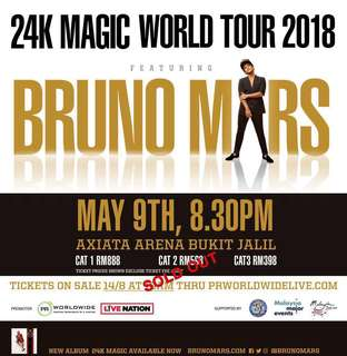 2 TICKET Bruno Mars 24k magic world tour @ KL