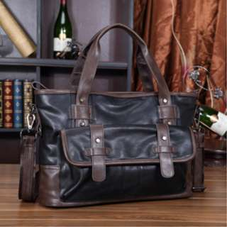 Korean fashion mens shoulder travel bag PU leather #5001