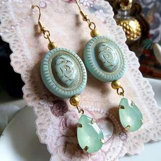 ✨ 古董珠大集合 🌾 美國描金薄荷糖樹脂珠配蛋白水鑽耳環 ✨
