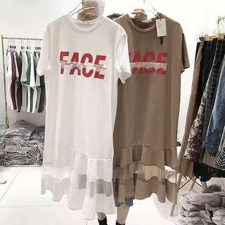 🚚 040608(F)東大門正韓  印花字母T恤裙洋裝