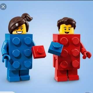 Lego Minifigure series 18 71021 Brick suit guy 紅磗男& Brick suit girl 藍磗女