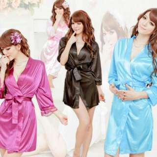 SLP495 Sexy Lingerie Silk Robe Open Front With G-String