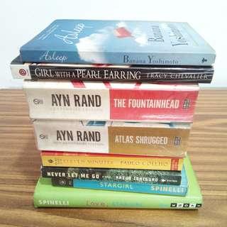 Assorted Books - 150 each. AYN RAND, BANANA YOSHIMOTO, KAZUO ISHIGURO, etc