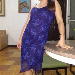 Dark Glittery Blue Spagetti-strap Dress