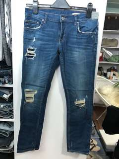 Zara Distressed Classic Blue Jeans W30 - Preloved, Excellent Condition