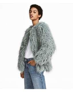 Bnwt H&M faux fur winter jacket coat blue