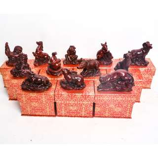 Red Wooden Antique Animal Zodiac (12 Zodiac Signs)