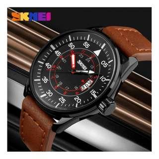 SKMEI fashion mens quartz watch w/date genuine leather strap 6months warranty Japan machine#9113